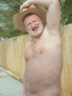 Naughty dude gets rid of the clothes outdoors and plays with his hard cock