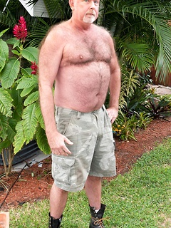 Older hairy dude strips in the backyard and fools around with his pulsating rod